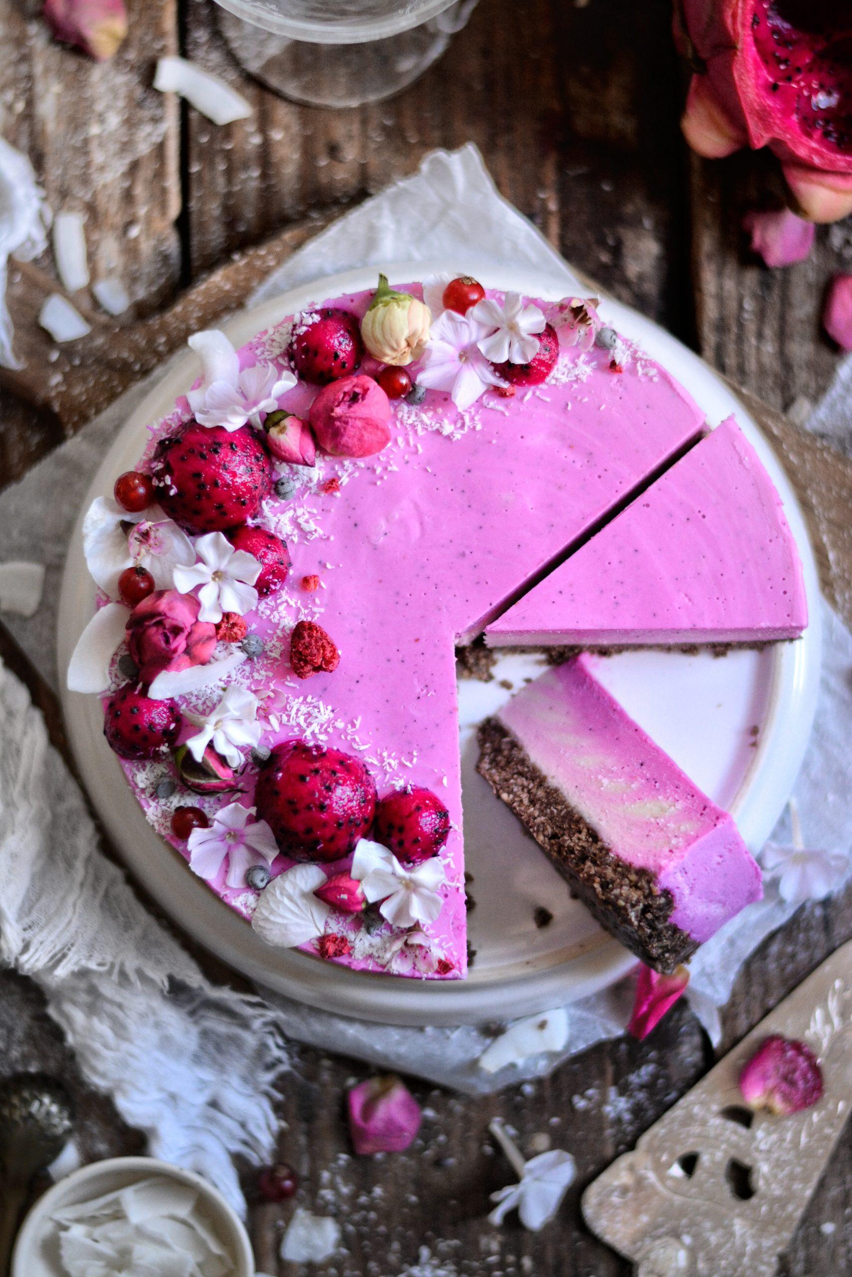 Cheesecake Vegan Sans Gluten Rose et Pitaya / Vegan Gluten Free Rose and Pitaya Cheesecake