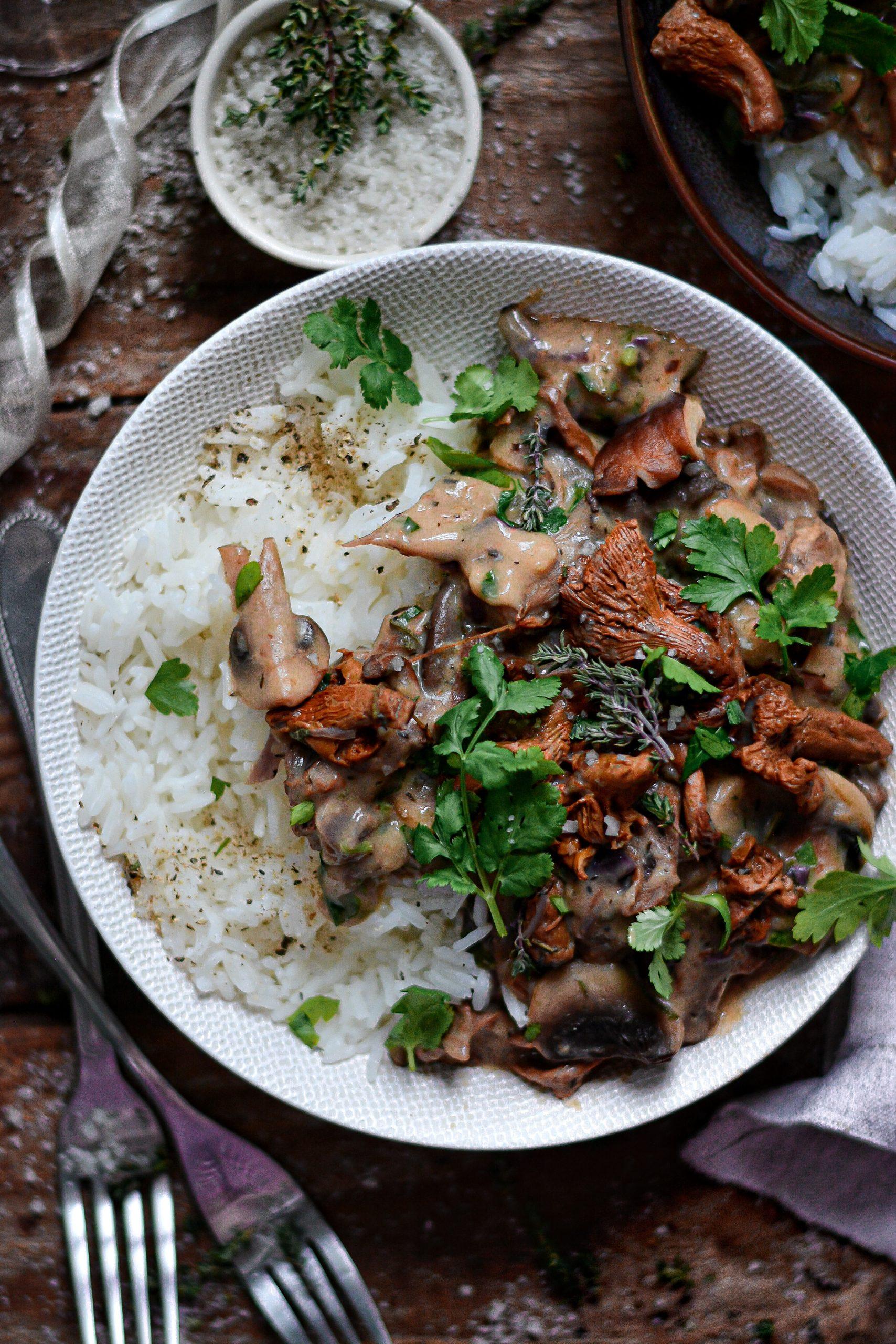 Stroganoff Facile Vegan aux Herbes et Champignons / Easy Vegan Herby Mushrooms Stroganoff