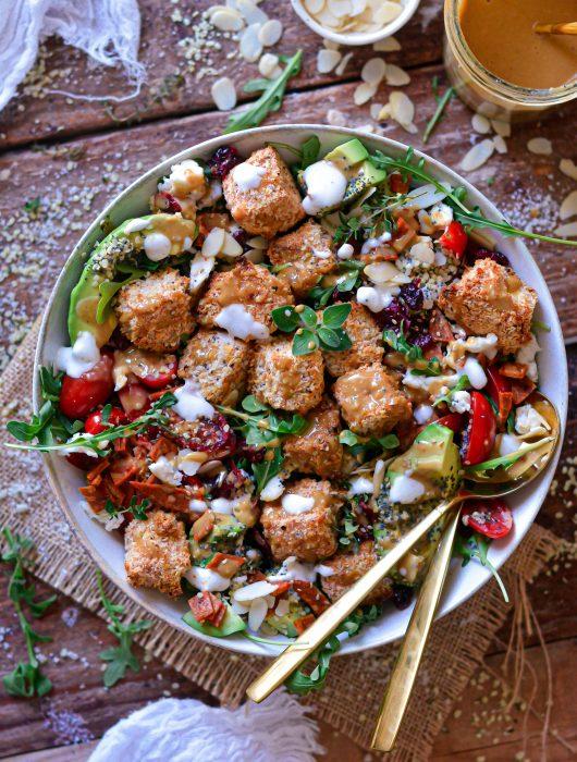 Salade Vegan de Tofu Croustillant au Panko / Vegan Crispy Baked Panko Tofu Salad