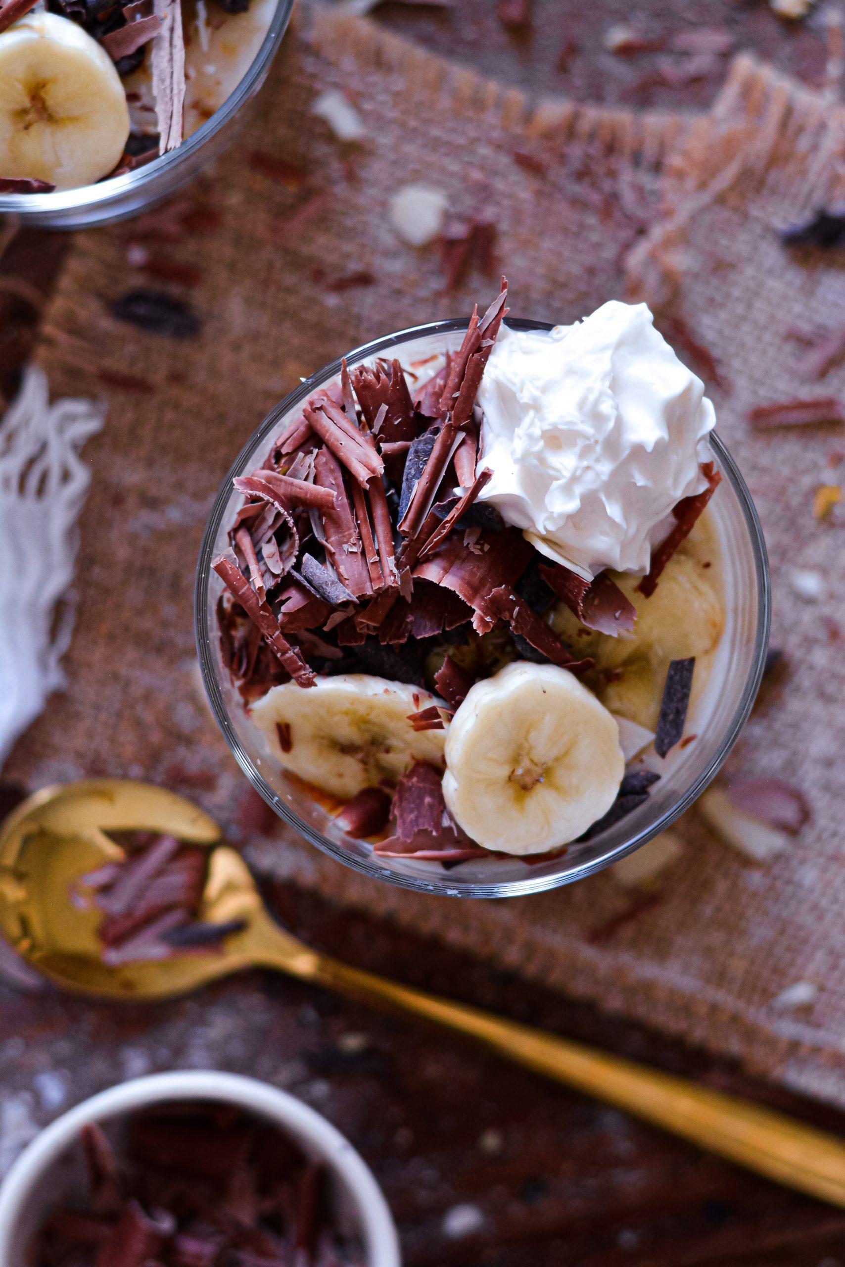 Parfaits Vegan Crème, Banane, Noix de Coco / Vegan Coconut Banana Cream Pie Parfaits