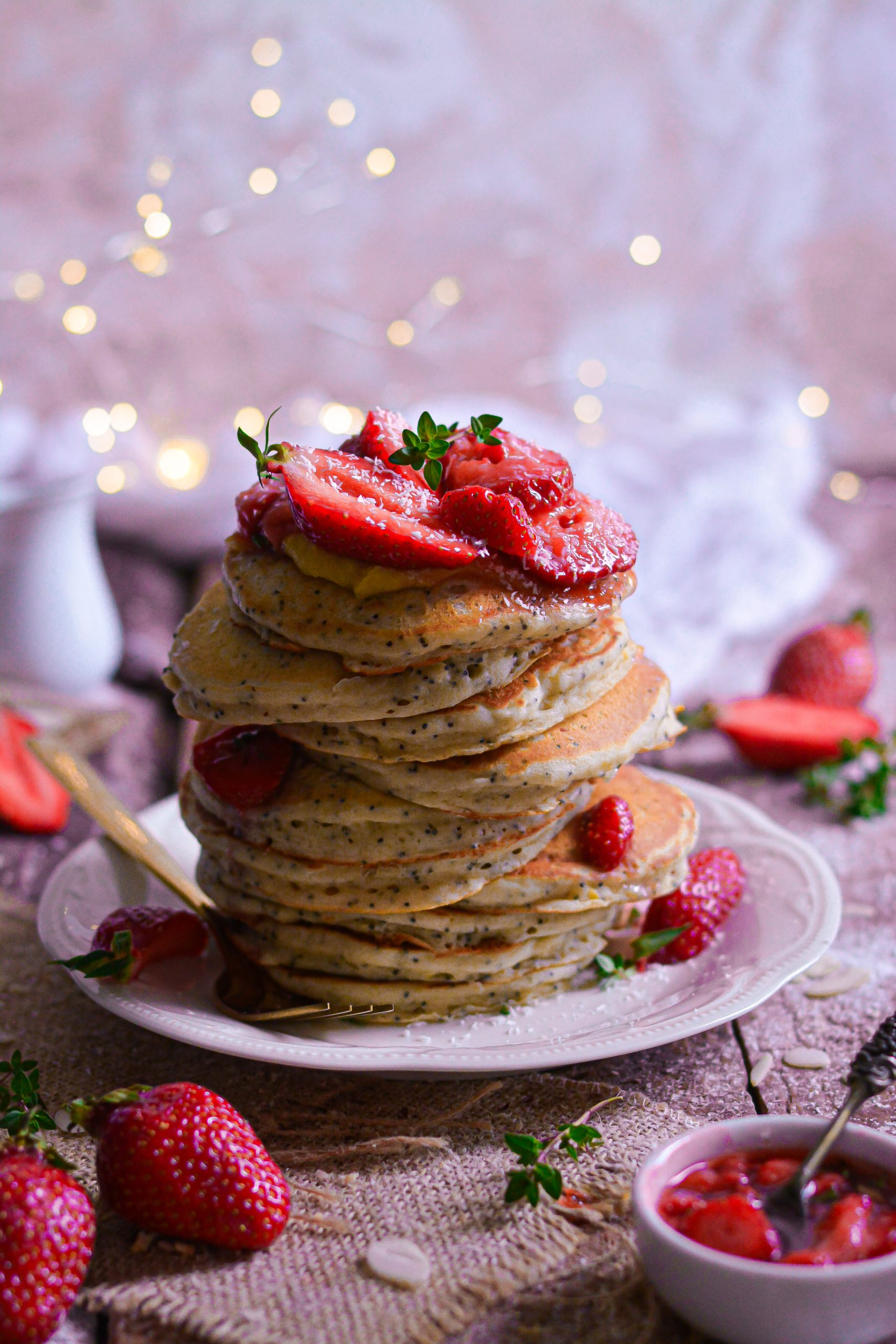 Pancakes Vegan Citron, Graines de Pavot / Vegan Lemon, Poppy Seeds Pancakes