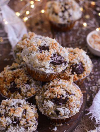 Muffins Vegan Banane-Choco Streusel Noix de Coco / Vegan Banana Choco Muffins, Coconut Streusel