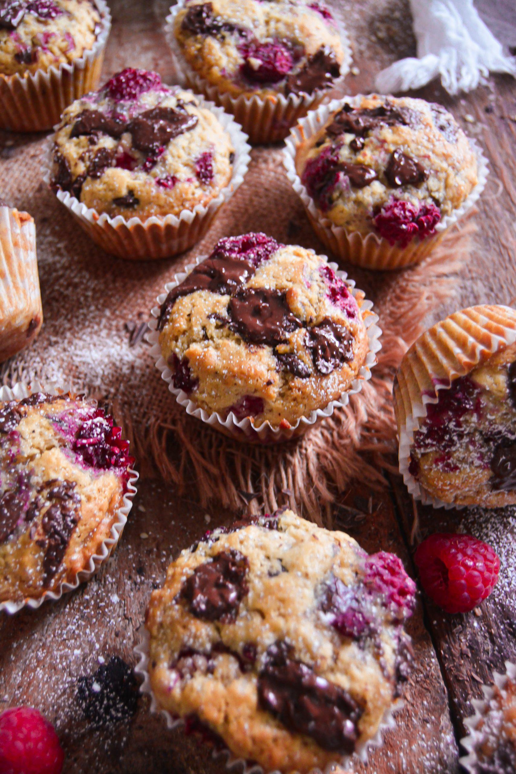 Muffins Vegan Framboises, Chocolat / Vegan Chocolate, Raspberry Muffins