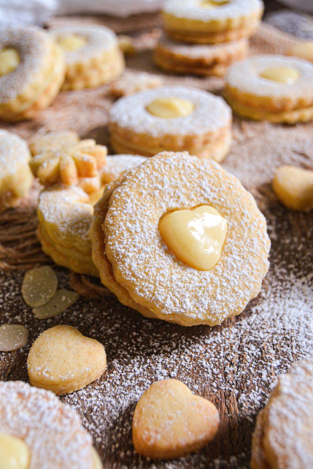 Biscuits Vegan Amande, Crème de Citron / Vegan Almond, Lemon Curd Shortbread Cookies