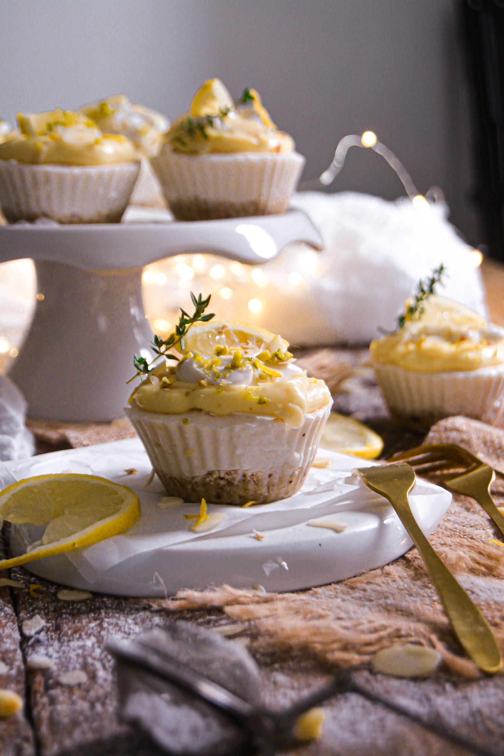 Mini Cheesecakes Vegan Sans Gluten au Citron / Mini Vegan Gluten Free Lemon Cheesecakes